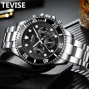 Wholesale automatic watch display box for sale - Group buy TEVISE Fashion Automatic Mens Watches Stainless Steel Men Mechanical Mristwatch Date Week Display Male Clock with box