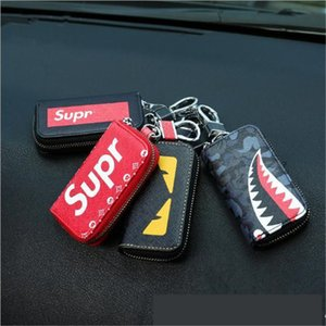 Wholesale Key holder for car keys wallet pouch bag leather keychain housekeeper car key case organizer key cover brand designed