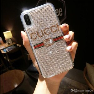Luxury Phone Case with Crystal Brand Phone Protect Cover Fashion Phone Case for iPhone 6 7 8 Plus X XR XS Max on Sale