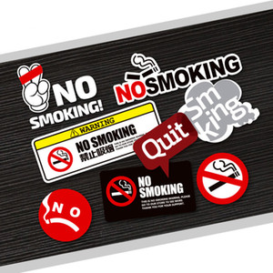 Wholesale Quit No Smoking Warning Mark Funny Logo Reflective PVC Car Sticker Auto Car Styling Waterproof Decal M Window Interior Sign