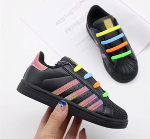 Wholesale Superstars Tip Shell Toe Kids Running Shoes Rainbow stripes Casual Sneakers Boys Girls Leisure Sports trainers Youth Children infant