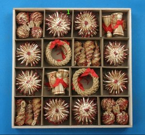 Wholesale Eco Friendly Christmas Decoration Christmas Tree Ornaments Set Wheat Straw Woven Decoration Crafts Snowflake Doll Tree Toys