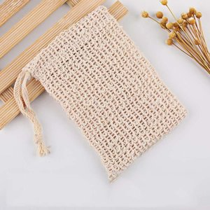 Wholesale Natural Exfoliating Soap Bags Handmade Sisalnatural Sisal Saver Pouch Holder Bath Soap Bag Drawstring Pocket