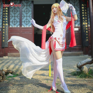 Wholesale UWOWO Game Sword Art Online Asuna Cosplay Costume Women Sexy Cheongsam Costume Dress Full SetMX190921