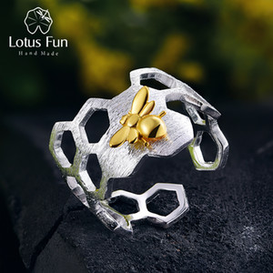 Lotus Fun Real 925 Sterling Silver Natural Handmade Fine Jewelry Honeycomb Open Ring Home Guard Gold Bee Rings For Women Bijoux MX190726