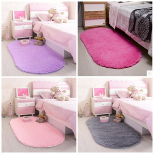 Wholesale rug resale online - Cute Fluffy Rugs Oval Shape Thicken Pure Color Carpets For Wedding Room Decoration Thicken Kids Room Mats Anti Wear xj E1