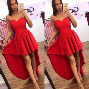 Wholesale Cheap Red Sweetheart Neck Short Prom Dresses High Low Satin Cocktail Party Dress A Line Evening Gown Custom Made