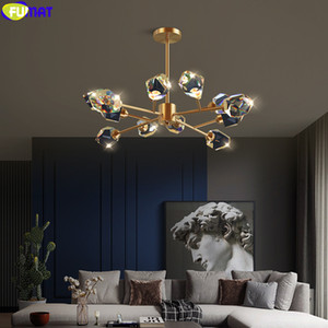 FUMAT 2020 New Brief Chandelier LED Ice Crystal Branch Pendant Lamp Copper Frame Dinning Living Room Luxury Villa Hanging Light