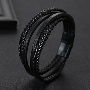 Wholesale Fashion Multi layers Handmade Braided Genuine Leather Bracelet Bangle for Men Magnetic Clasp Stainless Steel Mens Jewellery