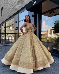 Wholesale 2019 Gold Ball Gown Evening Dresses Shiny Sweetheart Neck Party Gowns Tiered Girls Formal Summer Dresses