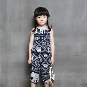 Wholesale Baby Girl clothes Girl s Retro Pattern Pants Floral Jumpsuit Suspender Trousers Pant Flower Print Kids Summer Outfit p l