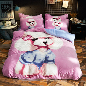 Wholesale Cartoon Poodle Lion Dog Warm Fleece Fabric Child Bedding Sets Velvet Flannel Duvet Cover Bed sheet Bed Linen Pillowcases