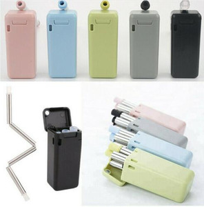 Wholesale Reusable Foldable Drinking Straws Stainless Steel Food Grade Folding Drinking Straws Portable Set with Case Holder Cleaning Brush HOT Sell