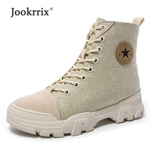 Wholesale Jookrrix Women Fashion Comfortable Increased cm Thick Sole Shoes Female Canvas Ankle Boots Lady Brand Martin Boots