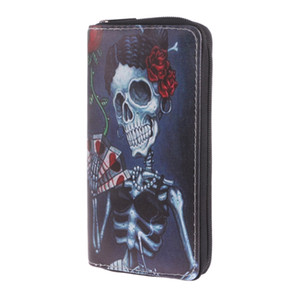 Wholesale THINKTHENDO Fashion Leather Zipper Women Skull Wallet Clutch Card Holder Purse Long Wallet Phone Case Phone Holder Color