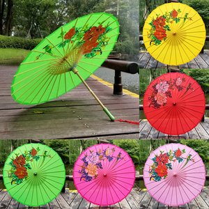 Wholesale 82CM Diameter Chinese Paper Umbrella Traditional Silk Fabric Craft Umbrella Wooden Handle Wedding Artificial Oil Paper Umbrellas BH2164 CY