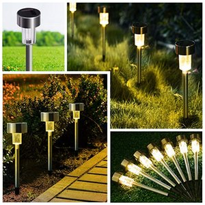 Wholesale Solar Lights Bright Pathway Outdoor Garden Stake Stainless Steel Waterproof Auto On off Sun Powered Landscape Lighting for Yard Patio