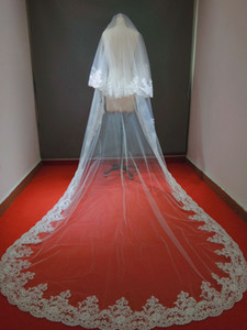 Wholesale Real Picture Zuhair Murad Tiers Long M M Cathedral Lace Edge Bridal Wedding Veil
