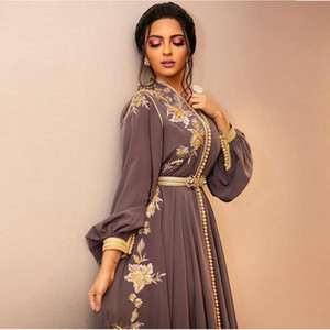 Wholesale long beige maternity dresses resale online - Moroccan Dubai Kaftan Lace Evening Dresses v neck Embroidery Appliques Long Formal Dress Full Sleeve Arabic Muslim Party Gowns