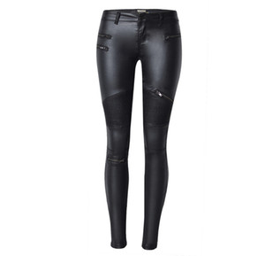 Wholesale New Fashion Imitation Denim Slim Leggings for Women Black Motorcycle Streetwear Pants Folds Zippers PU Leather Pants