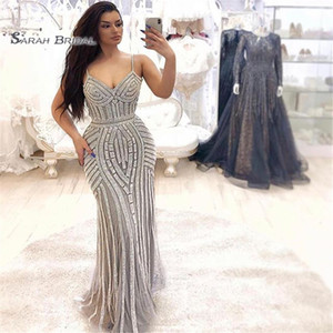 Wholesale 2019 Sexy Spaghetti Mermaid Sequins Beads Tulle vening Wear In Stock Hot Sales High-end Occasion Dress