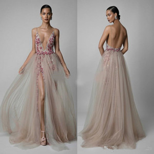 Wholesale 2019 Berta Beaded Backless Evening Dresses Appliqued Sheer Deep V Neck Sequined Side Split Prom Gowns Tulle Plus Size Formal Dress