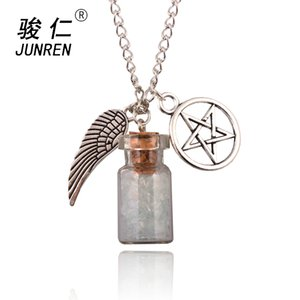 Wholesale 1pcs Silver Tone Supernatural Protection Necklace Angel Wing Pentagram With Salt Bottle Pendant Chain Necklace