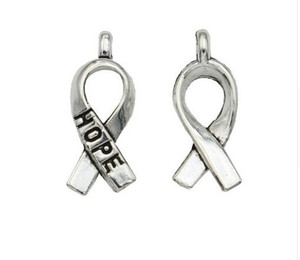 Wholesale cancer ribbons resale online - 200pcs Ancient Silver Hope Cancer Ribbon Alloy Charms Pendants For diy Jewelry Making findings x8mm
