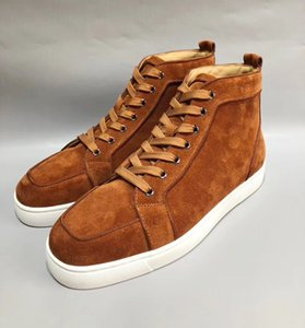 Wholesale High Quality Brown Suede Leather Sneakers Shoes Red Bottom Women Men Fashion Hightop Casual Walking Party Dress Trainer Size
