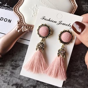 Wholesale Tiny Tassel Earrings for Women Fashion Jewelry Vintage Velvet Ball Statement Fringed Drop Earring Female Jewellery New