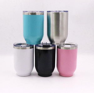 Wholesale 16oz Egg Shaped Cup Stainless Steel Eggshell Outdoor Hiking Vacuum Insulation Water Bottles Coffee Mug Only Sliver In Stock OOA7123