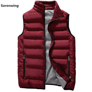 Wholesale New Vests Men Brand Mens Sleeveless Jacket Cotton-Padded Men's Vest Autumn Winter Casual Coats Male Waistcoat 5XL 00000