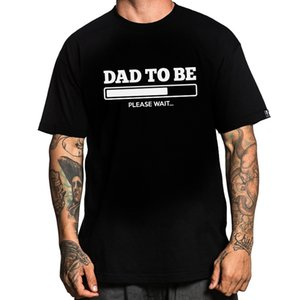 Wholesale Different Style Dad To Be Graphic Black Short T Shirt Cotton Round Collar Men Tee