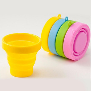 Wholesale Portable Silicone Retractable Folding Cup with Lid Outdoor Telescopic Collapsible Drinking Cup Travel Camping Water Cup