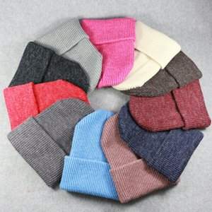 Wholesale Winter Hats for Ladies Women Crochet Knit Cap Skullies Beanies Warm Caps Fashion Female Cute Solid Knitted Stylish Hat LJJM2344