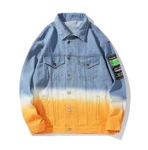 Wholesale Unique Vintage Mens Gradation Denim Jacket Fashion Designer Hip Hop Casual Letters Embroidery Back Printed Cotton Coats Outwear GXN1090