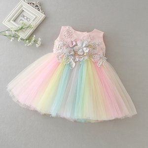 Wholesale party dress years old resale online - Rainbow Baby Girl Dresses Party and Wedding nd st Birthday Dresses for Girls Fancy Frock Dress for a Year Old Baby Evening Ball