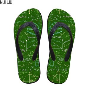 Wholesale Customized Flip Flops Women Flats Summer Math Lessons Prints Fashion Home Slippers for Teen Girls Rubber Beach Pool Water Shoes