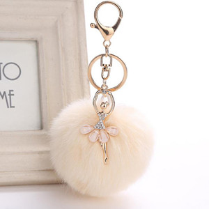 Wholesale Cute Fake Rabbit Fur Ball Pompom Keychain Women Bag Cars Dancing Dancer Pendants Fluffy Key Chain Keyring llavero