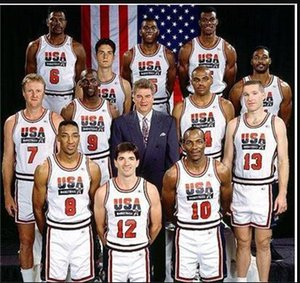 Wholesale College 1992 USA Team Dream Team One Basketball 12 John Stockton Jersey 4 Christian Laettner 11 Karl Malone 13 Chris Mullin 15 Johnson
