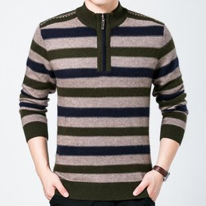 New Fashion Brand Men Winter Casual Sweater Zipper Half Hight Collar Striped Jumpers Sweaters For Men Long Sleeve Pullovers Male on Sale