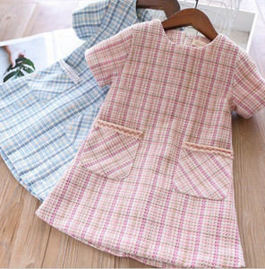 Wholesale Fall new Girls plaid dress kids double pocket princess dress children short sleeve lattice A line dress lady style kid clothes F9351