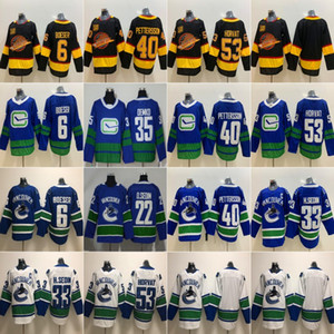 Wholesale 40 Elias Pettersson 50th Seasons Vancouver Canucks 53 Bo Horvat 6 Brock Boeser 22 Daniel Sedin 33 Henrik Sedin Ice Hockey Jersey