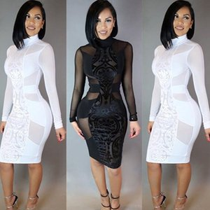 Wholesale Summer Sexy Women Long Sleeve Bodycon Turtleneck hollow out Transpartant Casual Party Evening Short Dress