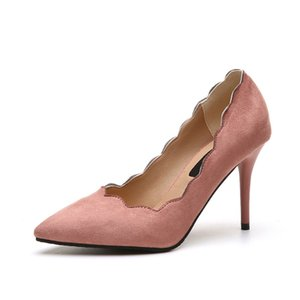 Designer Dress Shoes 2019 High Heels Women Spring Velvet Pointed Toe Thin Heels Women Wedding Large Size