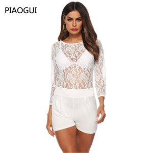 Wholesale 2019 Summer Women s Sexy Lace Bodysuit Playsuits New Fashion Perspective Long Sleeves Zipper Tight Fitting Jumpsuit High Quality