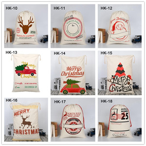 Wholesale Christmas Santa Sacks Styles Canvas Drawstring Santa Bags For Stocking Candy Apple Xmas Decoration For Party Favor