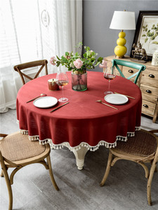 New Simple Elegant Luxury Linen Tablecloth With Tassel For Wedding Birthday Party Round Table Cover Desk Cloth For Home Decor