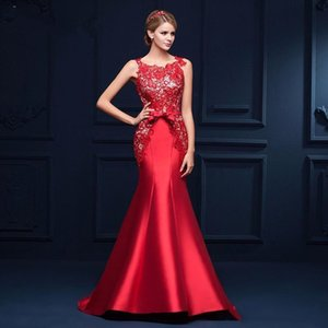 Elegant Red Carpet Formal Evening Dresses Mermaid Lace Sheer Backless Appliques Satin Vestidos Cheap Prom Dress on Sale
