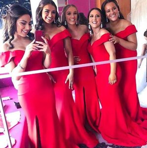 Wholesale 2019 New Elegant Red sexy Split Side Bridesmaid Dresses Mermaid Off The Shoulder Plus Size custom made cheap African Maid Of Honor Gowns